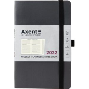 Еженедельник датированный А5, 2022 Axent Partner Soft, мягкая обложка, кремовый блок, серый