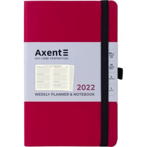 Еженедельник датированный А5, 2022 Axent Partner Soft, мягкая обложка, кремовый блок, фуксия