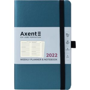 Еженедельник датированный А5, 2022 Axent Partner Soft, мягкая обложка, кремовый блок, синий металлик