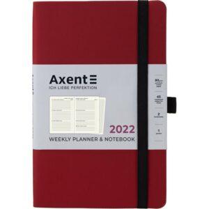 Еженедельник датированный А5, 2022 Axent Partner Soft, мягкая обложка, кремовый блок, бордо