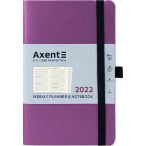 Еженедельник датированный А5, 2022 Axent Partner Soft, мягкая обложка, кремовый блок, фиолетовый