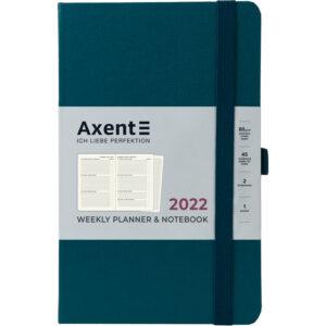 Еженедельник датированный А5, 2022 Axent Partner Strong, твердая обложка, кремовый блок, малахитовый
