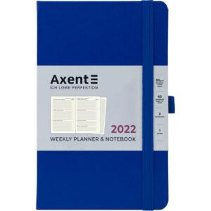 Еженедельник датированный А5, 2022 Axent Partner Strong, твердая обложка, кремовый блок, классический синий