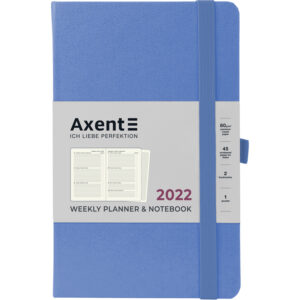Еженедельник датированный А5, 2022 Axent Partner Strong, твердая обложка, кремовый блок, васильковый