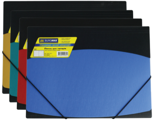 Папка пластиковая А4 на круглой резинке,  двухцветная, рельеф.пластик