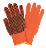 Перчатки вязаные DOLONI 526, оранжевые, 3 нитки, точка ПВХ, пара