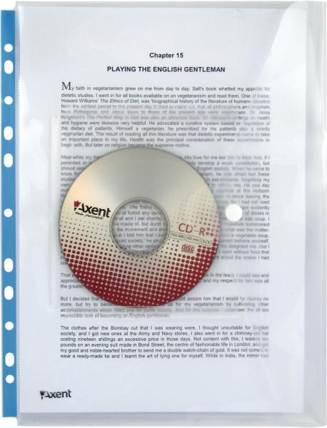 Папка на кнопке А4, с перфорацией и карманом для CD