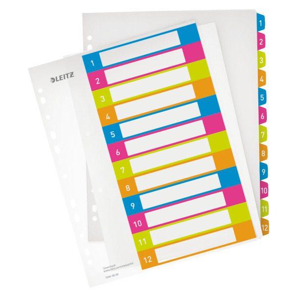 Разделители А4+, 1-12 LEITZ WOW с возможностью печати на ПК, пластиковые