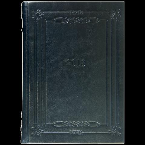 Ежедневник А5 датированный 2018 SAGA черный, золотой торец