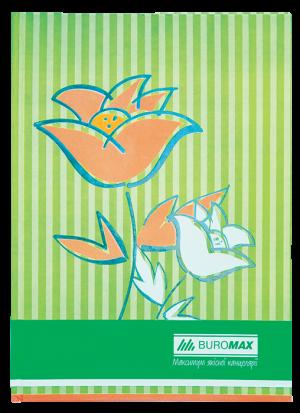 Книга канцелярская FLOWERS А4, 80 листов, твердая обложка, салатовый, клетка