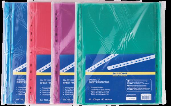Файл для документов А4+, 40мкм, цветные, 100шт.