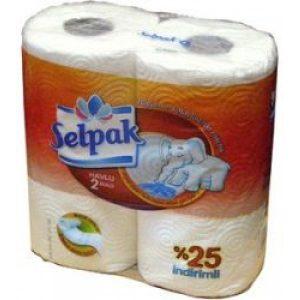 Бумажные полотенца в рулоне SELPAK 3-х слойные, 2рулона, белые