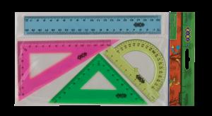 Комплект: линейка 20 см, 2 треугольника, транспортир разноцветные
