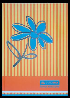 Книга канцелярская FLOWERS А4, 80 листов, твердая обложка, оранжевый, клетка