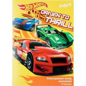 Бумага цветная неоновая 10л, 5 цв. А4 Hot Wheels HW17-252