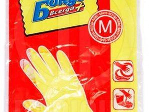 Перчатки для уборки Бонус размер M, желтые