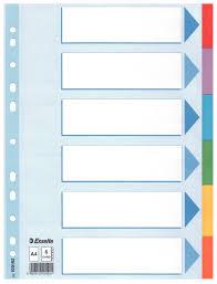 Разделители картонные А4, 1-6, цветные