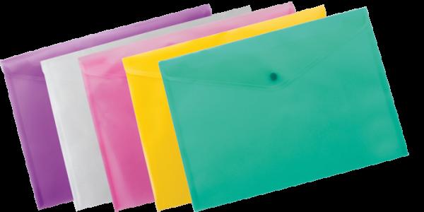 Папка-конверт на кнопке А4, прозрачная