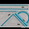 Комплект: линейка 20 см, 2 треугольника, транспортир
