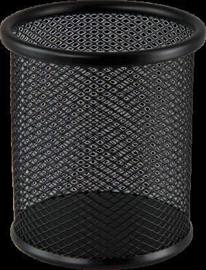 Подставка для ручек, металлическая сетка, круглая, черная и серебряная