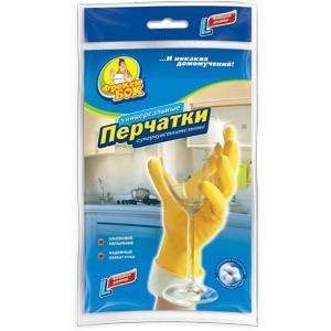 Перчатки для уборки Фрекен Бок с хлопковым напылением, размер L, желтые