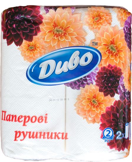 Бумажные полотенца ДИВО Обухов, 2слоя, 2 рулона, белые